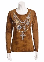 Jack Flash Tees: Cross Jewel Necklace LS, 3/4 Sleeve S-2XL