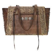A American West Handbag Rio Grande Collection: Leather Zip Top Tote Sand