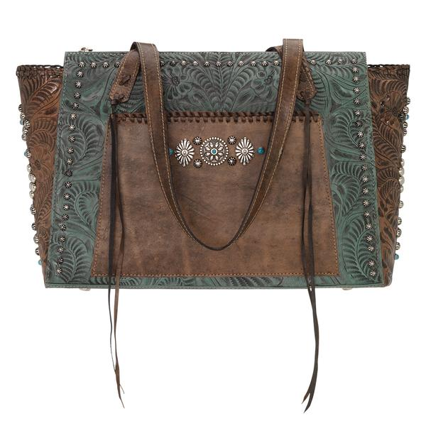 A American West Handbag Rio Grande Collection: Leather Zip Top Tote Turquoise