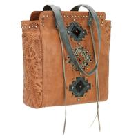 American West Handbag Navajo Soul Collection: Leather Zip Top Tote Golden Tan