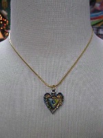 A Cowgirl Heart Jewelry: Heart Hand Painted on Gold Chain