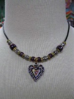 A Cowgirl Heart Jewelry: Heart Hand Painted Beaded