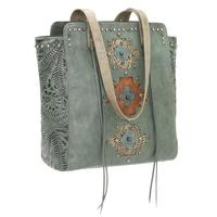 American West Handbag Navajo Soul Collection: Leather Zip Top Tote Turquoise Backordered