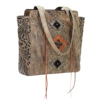 American West Handbag Navajo Soul Collection: Leather Zip Top Tote Distressed Charcoal Brown