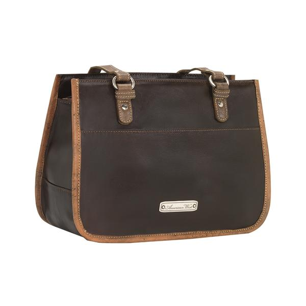 A American West Handbag Las Cruces Collection Leather Zip Top Tote Chocolate