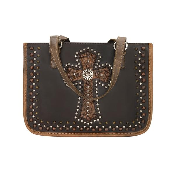 A American West Handbag Las Cruces Collection: Leather Zip Top Tote Chocolate