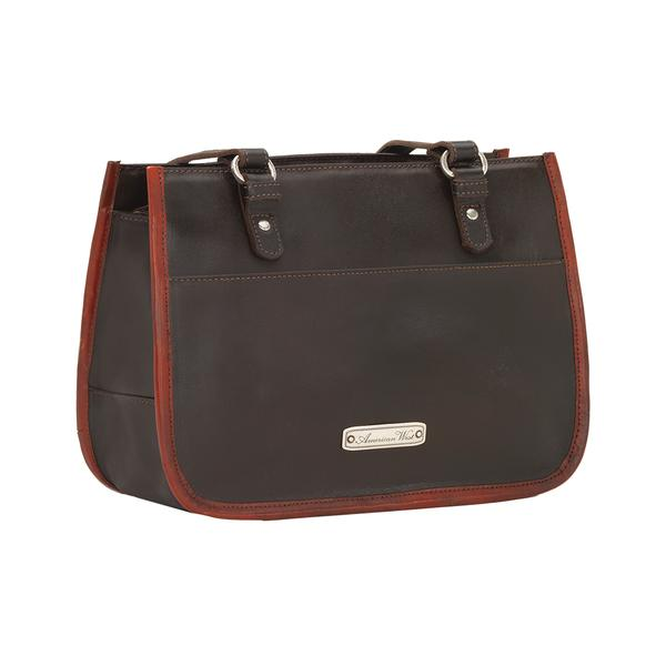 A American West Handbag Las Cruces Collection Leather Zip Top Tote Chocolate With Crimson