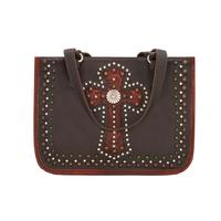A American West Handbag Las Cruces Collection: Leather Zip Top Tote Chocolate with Crimson
