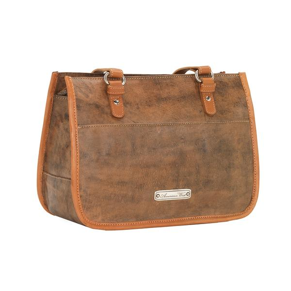 A American West Handbag Las Cruces Collection Leather Zip Top Tote Distressed Charcoal Brown