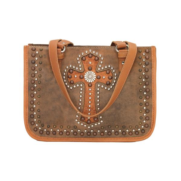 A American West Handbag Las Cruces Collection: Leather Zip Top Tote Distressed Charcoal Brown