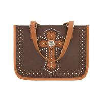 A American West Handbag Las Cruces Collection: Leather Zip Top Tote Chestnut Brown
