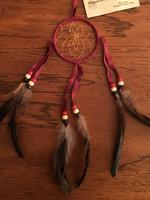 3in Navajo Dream Catcher: Leather Wrap w Feathers Small Wine