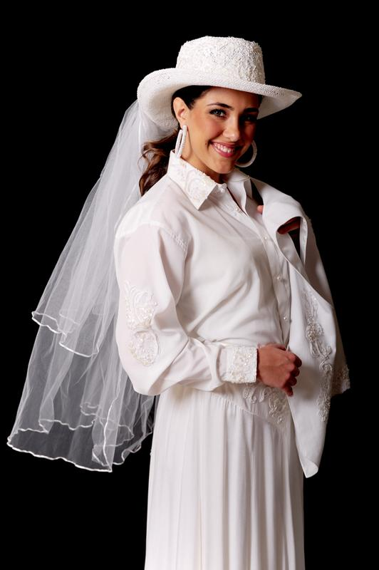 Ann N Eve Collection: Western Wedding Blouse Sequined Sleeve 1X-3X