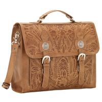 American West Handbag ZZ Travel Collection: Retro Laptop Briefcase Tan