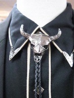 Rockmount Ranch Wear Accessory: Bolo Tie Steer Skull Silver Tone Bolo Back Ordered