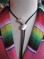 ZSold Rockmount Ranch Wear Accessory: Bolo Tie Musical Note Silver Tone SOLD