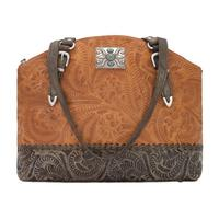 American West Handbag Annie's Secret Collection: Concealed Carry Zip Top Half Moon Tote Golden Tan