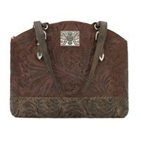 American West Handbag Annie's Secret Collection: Concealed Carry Zip Top Half Moon Tote Chestnut Brown