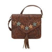 A American West Handbag Flower Power Chestnut Brown