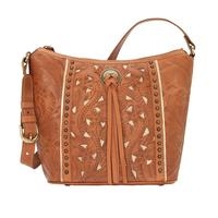 A American West Handbag Hill Country Collection: Leather Zip Top Bucket Tote Golden Tan