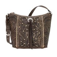 A American West Handbag Hill Country Collection: Leather Zip Top Bucket Tote  Charcoal Brown