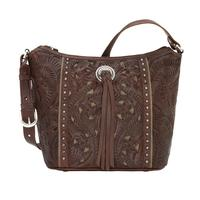 A American West Handbag Hill Country Collection: Leather Zip Top Bucket Tote Chestnut Brown
