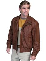 ZSold Scully Men's Leather Jacket: Casual Featherlite Wind Buffer Cognac L-2XL