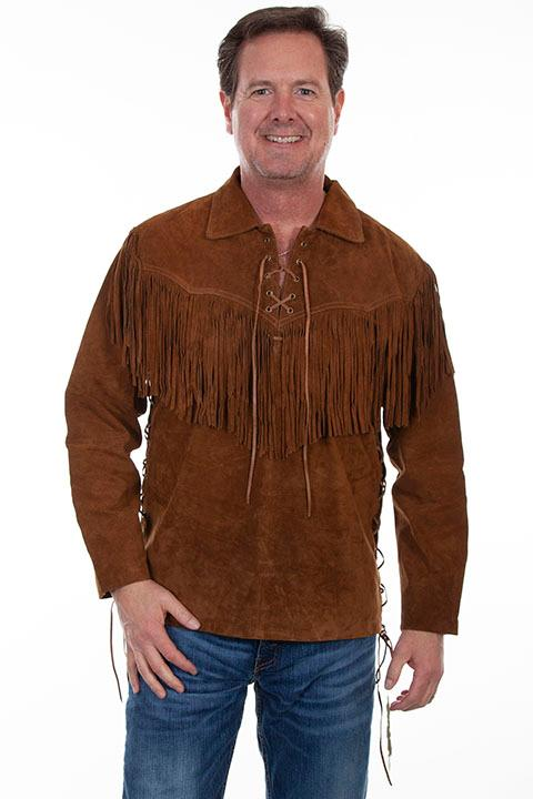 Scully Men's Leather Shirt: Casual Suede Fringe Trapper Shirt Cafe Brown Big
