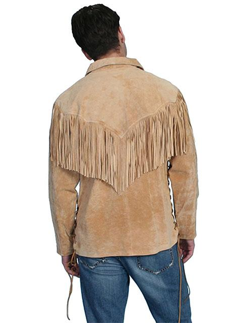 24b32348a Scully Men's Leather Shirt: Casual Suede Fringe Trapper Shirt Bourbon Big