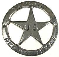 Colorado Silver Star Old West Badge: Pecos Texas Ranger