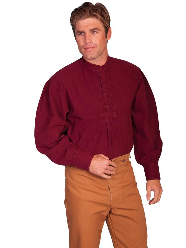 Scully Men's Old West Shirt: Rangewear Cotton Band Collar Burgundy