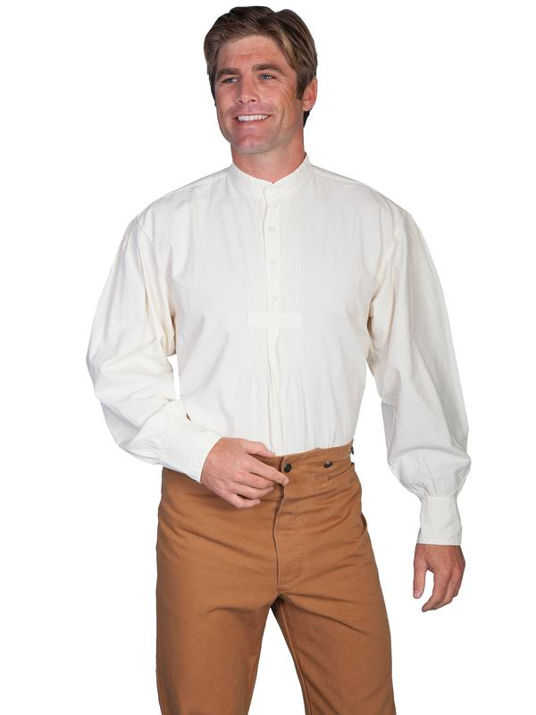 Scully Men's Old West Shirt: Rangewear Cotton Band Collar Natural