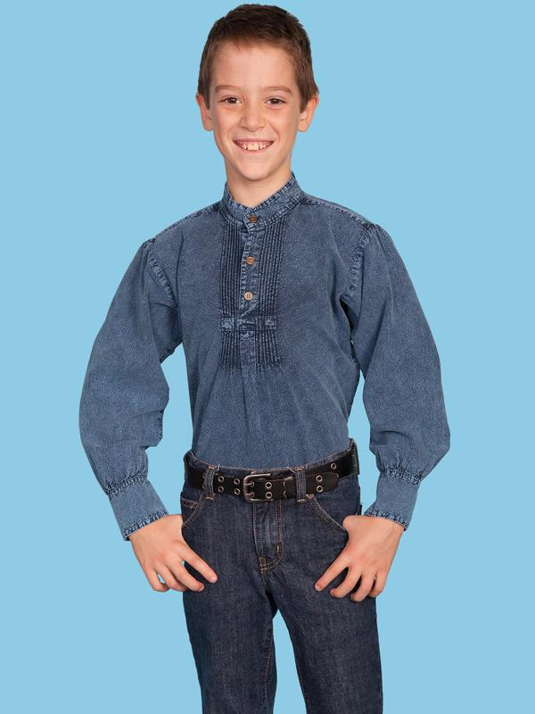Scully Childrens Shirt : Rangewear Band Collar Puff Sleeve Dark Blue XS-XL