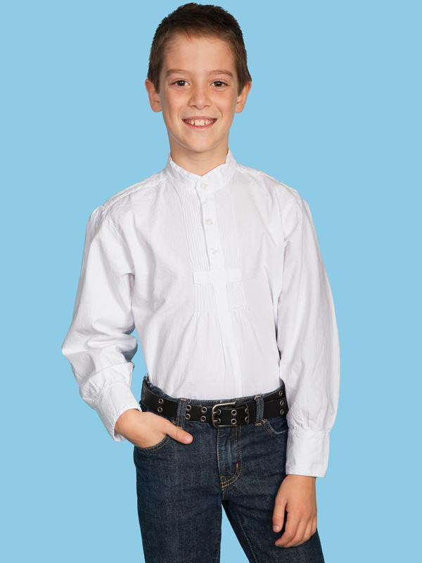 Scully Childrens Shirt : Rangewear Band Collar Puff Sleeve White