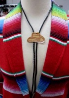 A Bolo Tie: Cowboy Hat Tan on Light Wood Brown Cord