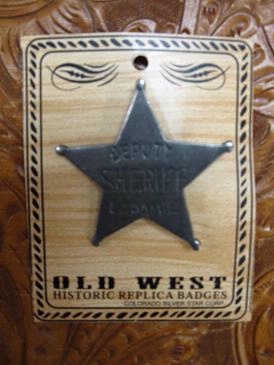 Colorado Silver Star Old West Badge: Deputy Sheriff Laramie Back Ordered