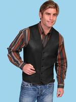 Scully Men's Leather Vest: Lambskin Button Front Hand Rubbed Black Big and Long Sizes