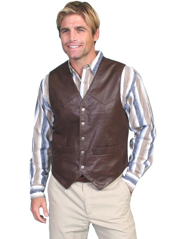 Scully Men's Leather Vest: Lambskin Soft Touch Snap Front Brown