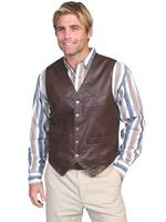 Scully Men's Leather Vest: Lambskin Soft Touch Snap Front Brown Big Sizes
