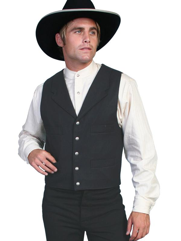 Scully Men's Old West Vest: Wahmaker Wool 4 Pocket Black