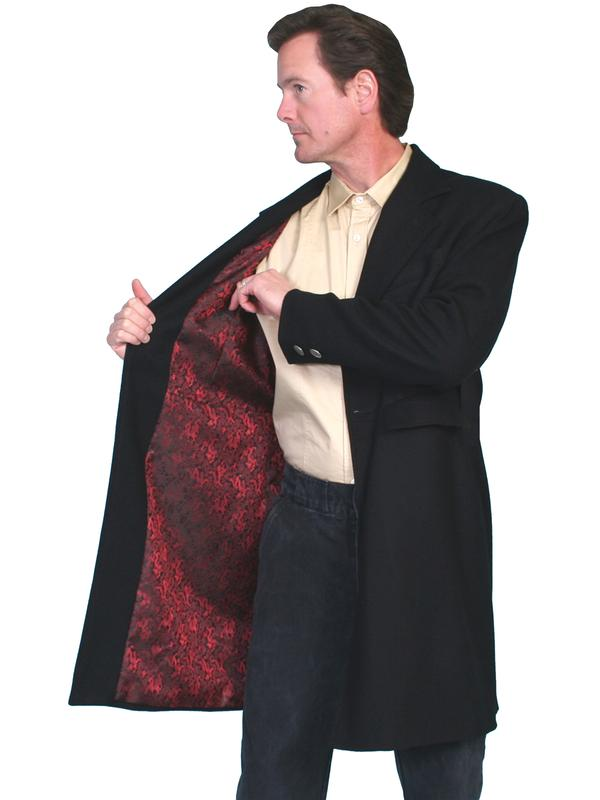 Scully Men's Old West Coat: Wahmaker Frock Coat Black with Engraved Buttons Red Dragon Print Lining