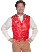 Scully Men's Old West Vest: Wahmaker Fancy Classic Dragon Red