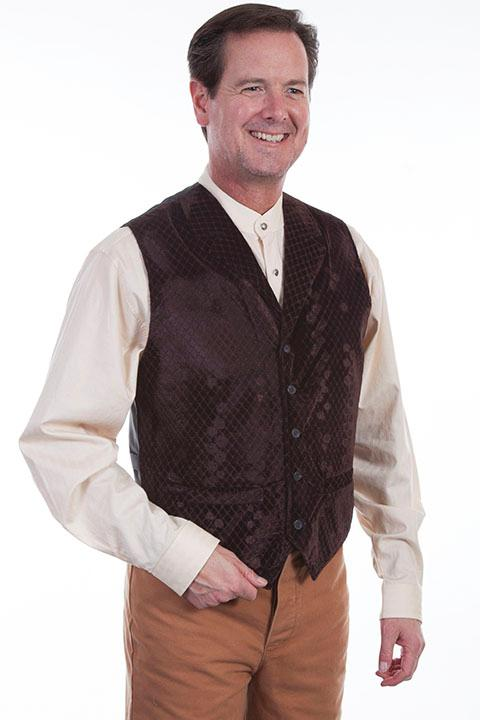 Scully Men's Old West Vest: Wahmaker Diamond Velvet Brown