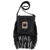 ZSold American West Handbag Eagle Feather Collection: Leather Western Crossbody Fringe Charcoal