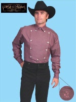 ZSold Scully Men's Old West Shirt: Wahmaker Cotton Blend Bib Brown SOLD