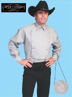 ZSold Scully Men's Old West Shirt: Wahmaker Cotton Blend Bib Gray SOLD
