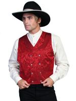 Scully Men's Old West Vest: Wahmaker Fancy Silk Jacquard Double Breasted Red