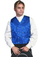 Scully Men's Old West Vest: Wahmaker Fancy Silk Jacquard Double Breasted Royal