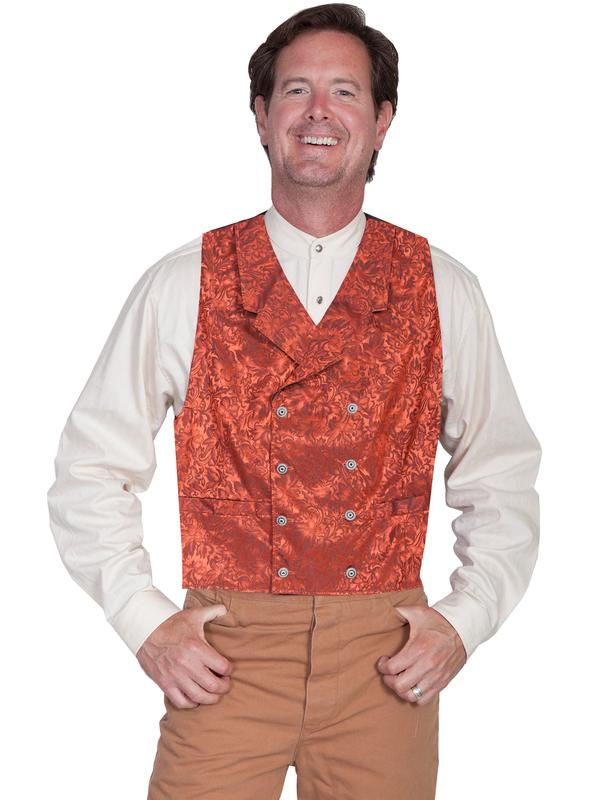 Scully Men's Old West Vest: Wahmaker Fancy Silk Jacquard Double Breasted Rust