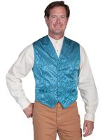 Scully Men's Old West Vest: Wahmaker Fancy Silk Classic Aqua Backordered